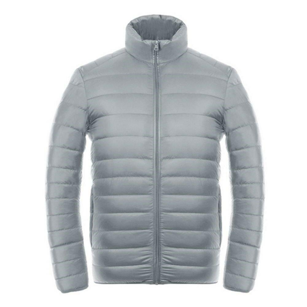 Light Thin Down Coat Man Stand Collar Winter Plus Size   light grey