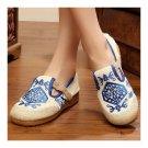 Flax Embroidered Old Beijing Cloth Shoes  blue