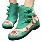 Vintage Beijing Cloth Shoes Embroidered Boots green 35
