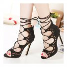 Suede Hollow Lace-up Thin High Heel Sandals Gladiator Stiletto Shoes Summer Boot
