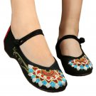 Old Beijing Cloth Embroidered Shoes Flat Casual  black