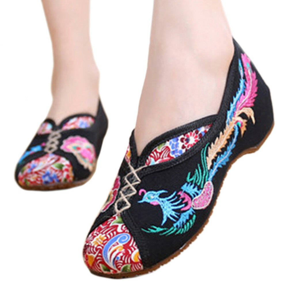 Old Beijing Cloth Embroidered Shoes Colorful Phoenix