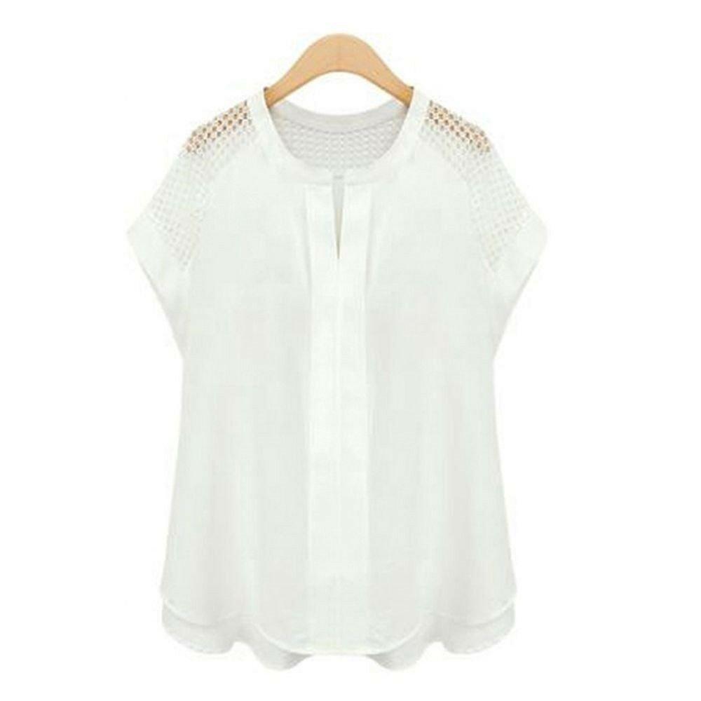 Summer Gauze Short Sleeve Loose T-shirt  white