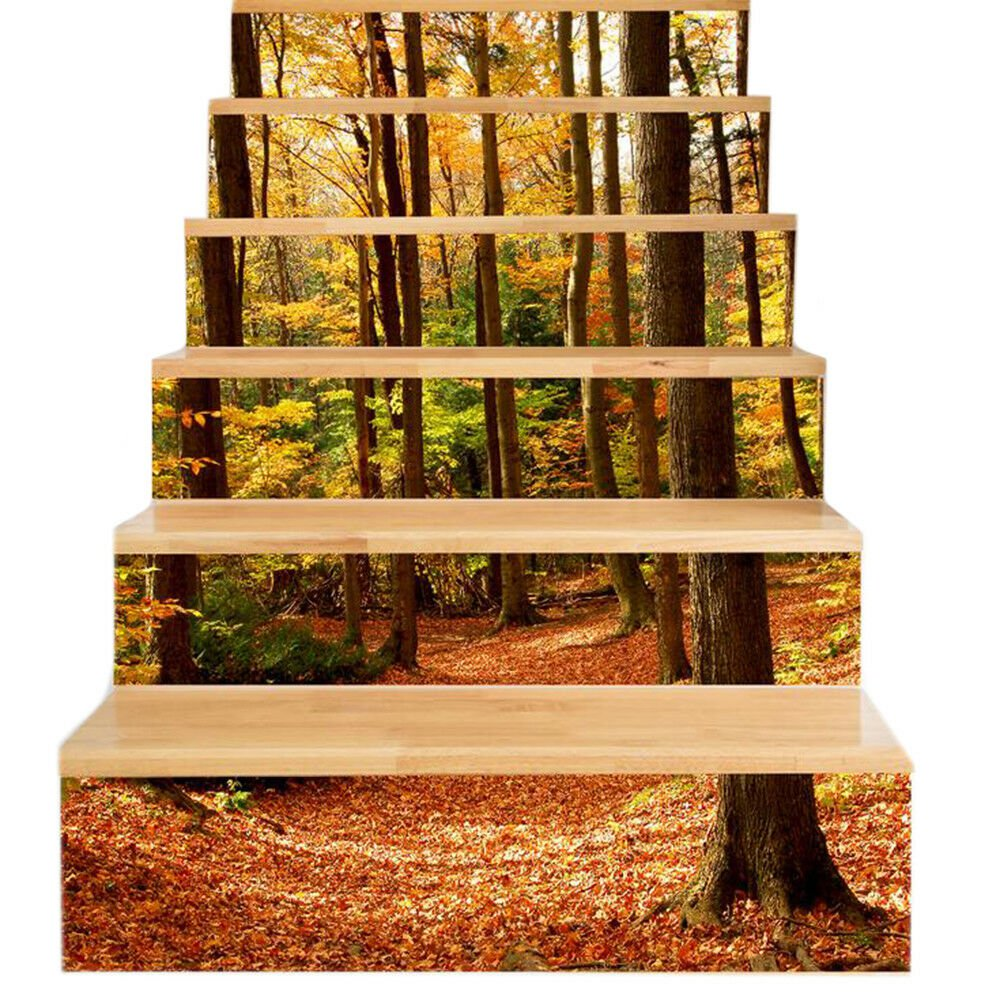 New 3D DIY PVC Waterproof  Stair Decals Wall  Floor Sticker  Forest QS021