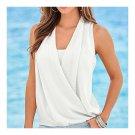Solid Color V-necked Chiffon Splicing Vest  white