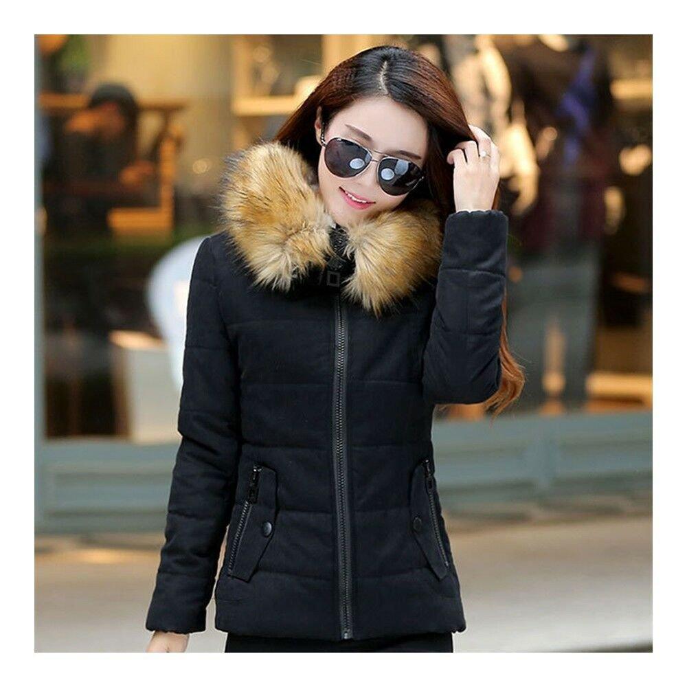 Winter Woman Slim Hoodied Cotton Coat   black    S