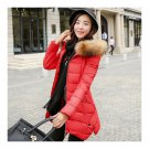 Winter Woman Middle Long Slim Plus Size Down Coat   red