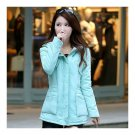 Winter Woman Middle Long Slim Cotton Coat Hoodied Thick  mint green  M