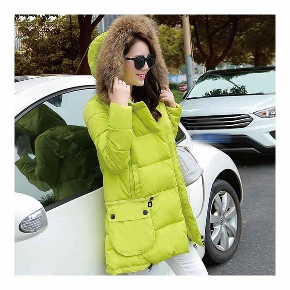 Winter Woman Fur Collar Down Coat Middle Long Warm   fluorescent yellow