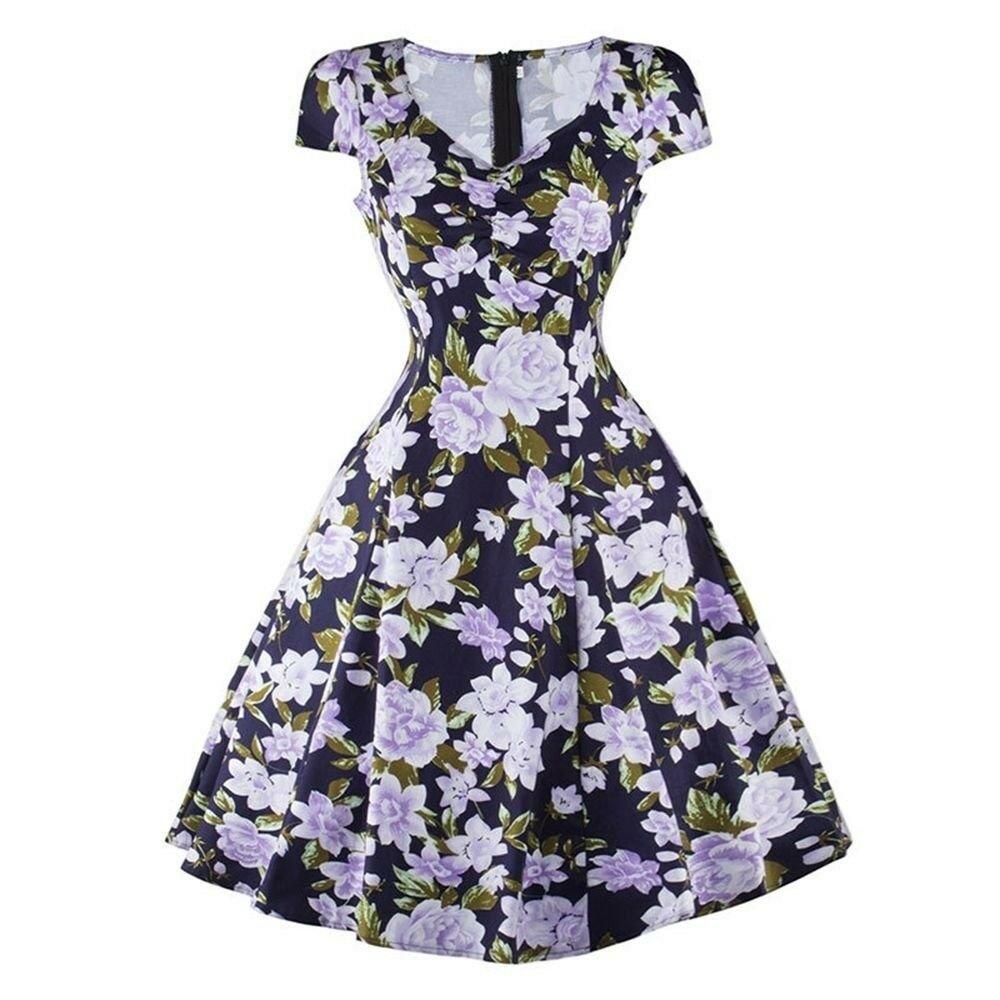 Woman V neck Printing Dress Slim Sleeveless   blue