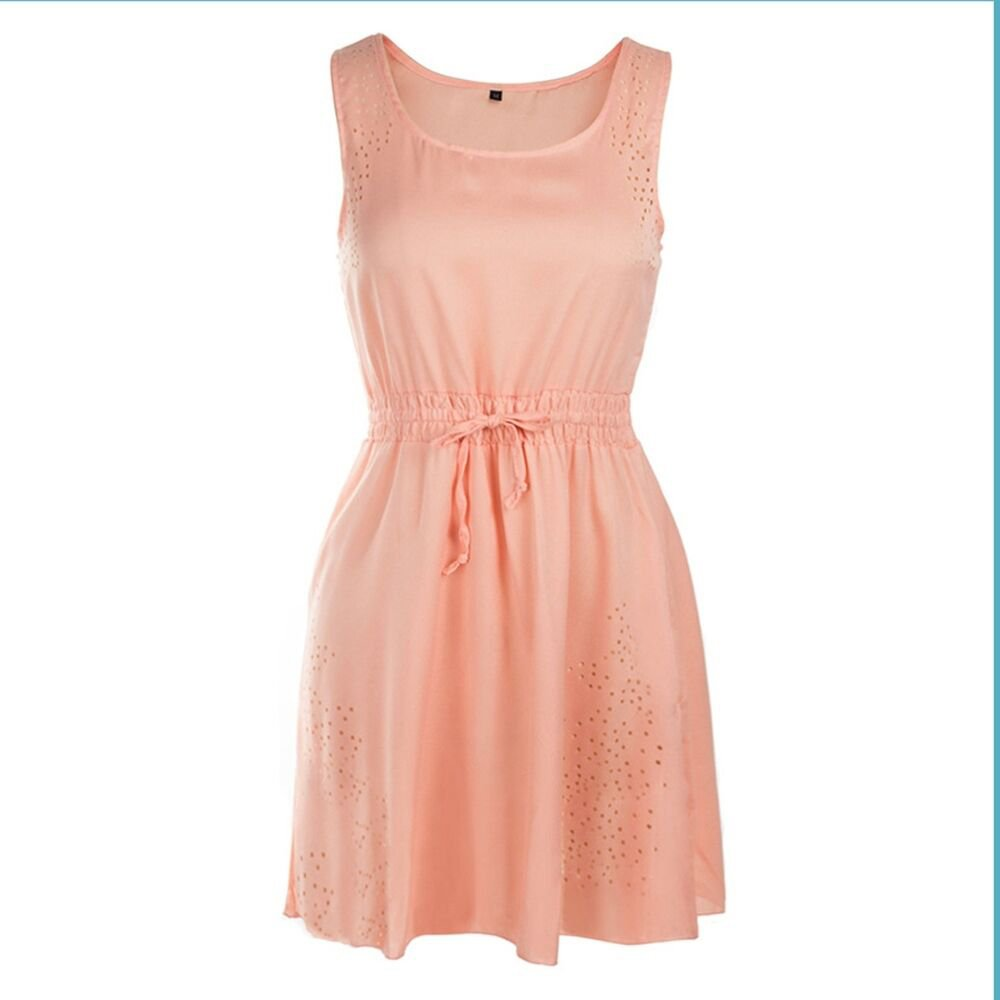 Drawstring Lace-up beautiful Dress Hollow Summer  pink