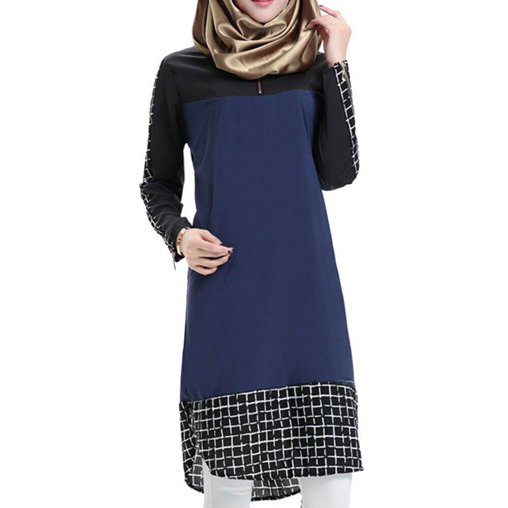 Muslim Checks Splicing Long Sleeve Short Dress middle long skirt size:F