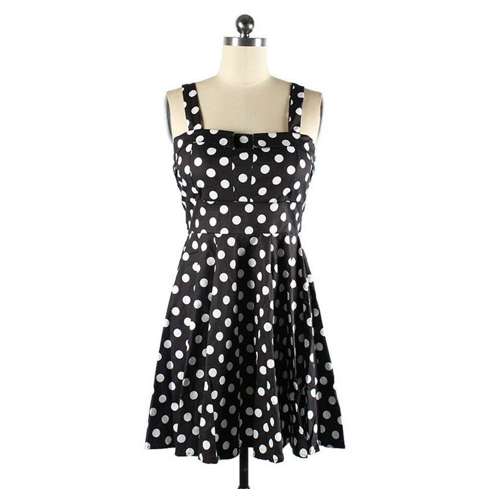 Vintage Hepburn Style Boob Tube Top Dot Dress   black