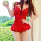 Women Backless Drape Pure Color Swimsuit Swimwear Bathing Suit red
