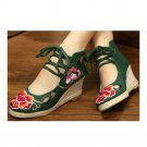 Old Beijing Cloth Embroidered Shoes Classical   green