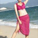 Bikini Swimsuit Swimwear Bathing Suit 3pcs  rose red