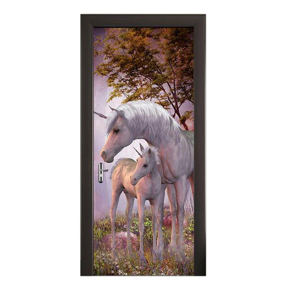 New 3D DIY PVC Waterproof  Door Wall Mural Sticker Unicorn qd058