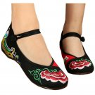 Old Beijing Cloth Embroidered Shoes Casual   red black