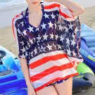 Bikini 3pcs Batwing-sleeved Blouse Swimsuit Swimwear Bathing Suit