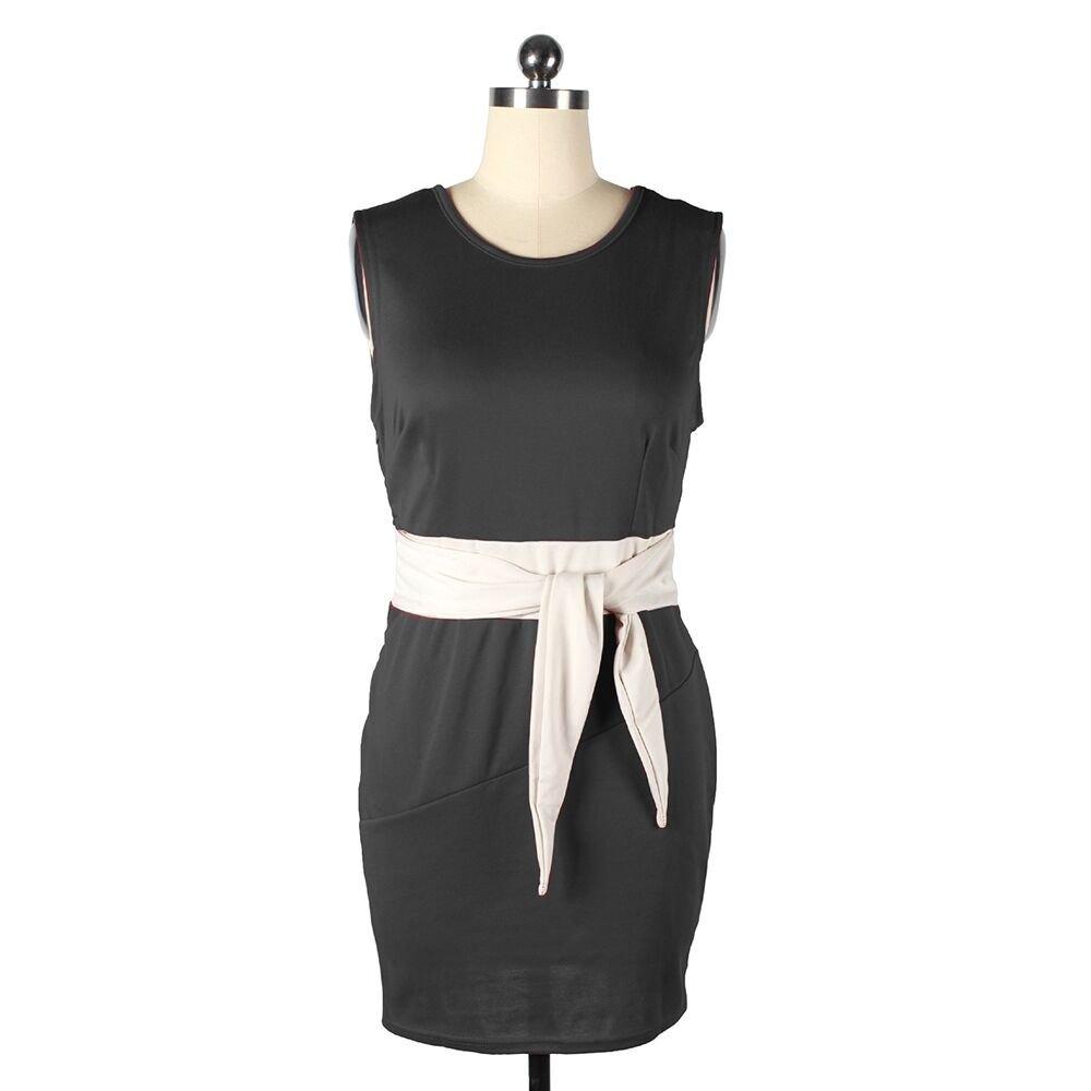 Solid Color Woman Round Collar Slim Elastic Dress   black