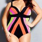 Pure Color Splicing Push-Ups High Waist Large Swimsuit Swimwear