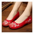 Plum Flower Old Beijing Embriodered Cloth Shoes   red
