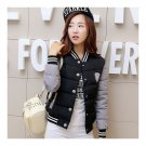 Woman Short Baseball Coat Down Coat Not Course Design  black