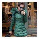 Winter Cotton Coat Woman Middle Long Slim Fur Collar   green    L