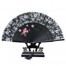 Cotton Cloth Folding Fan Woman      black
