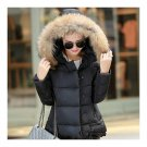 Winter Slim Candy Color Fur Collar Short Down Coat black