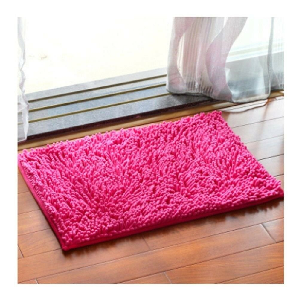 Chenille Carpet Non-slip Ground Door Mat   rose red   40*60cm
