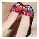 Plate Button Old Beijing Cloth Embroidered Shoes   black