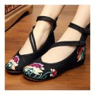Old Beijing Cloth Embroidered Shoes Soft Sole   black
