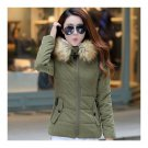 Winter Woman Slim Hoodied Cotton Coat   army green    S