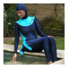 Muslim Swimwear Swimsuit Woman Beach Burqini  sapphire blue