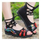 Old Beijing Cloth Embroidered Shoes Comfortable Sandals   black