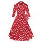 Hepburn Style A-line Dress Dot Big Peplum   red dot