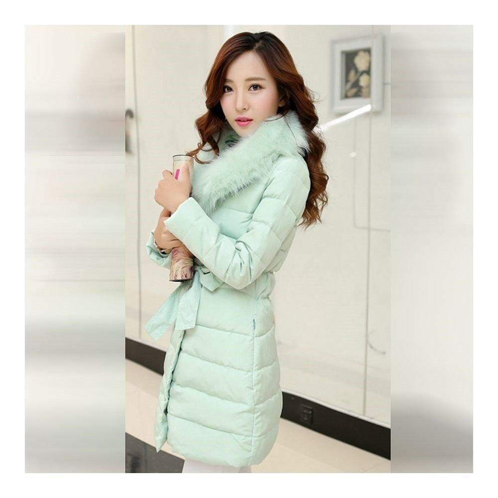 Winter Slim Down Coat Woman Fur Collar Middle Long int green