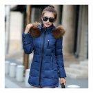 Winter Woman Slim Middle Long Down Coat   blue