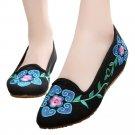 Old Beijing Cloth Embroidered Shoes 5 Petal Flower   black