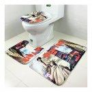 Toilet Seat 3pcs Set Ground Mat Carpet Anti-skdding