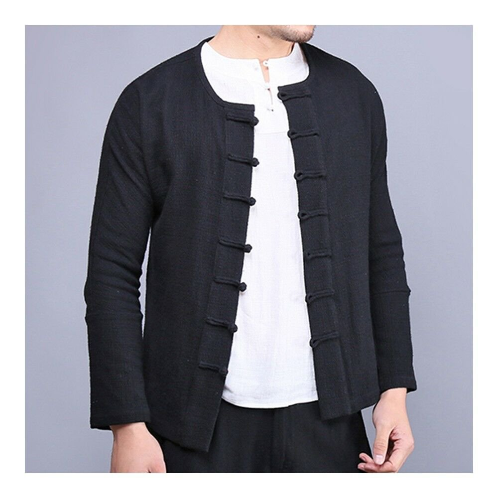 Plate Button Top Flax Jacket Coat Vintage black
