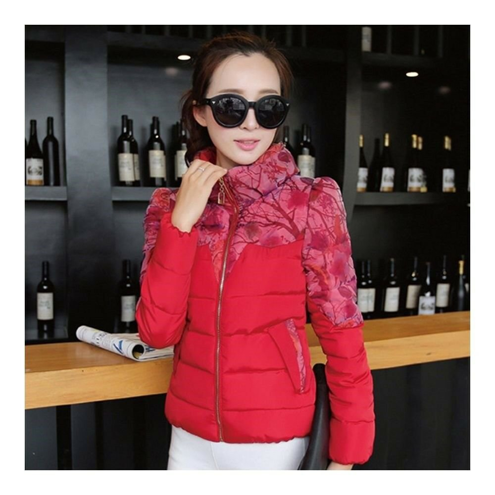 Winter Fashionable Short Thin Light Down Coat Woman   red