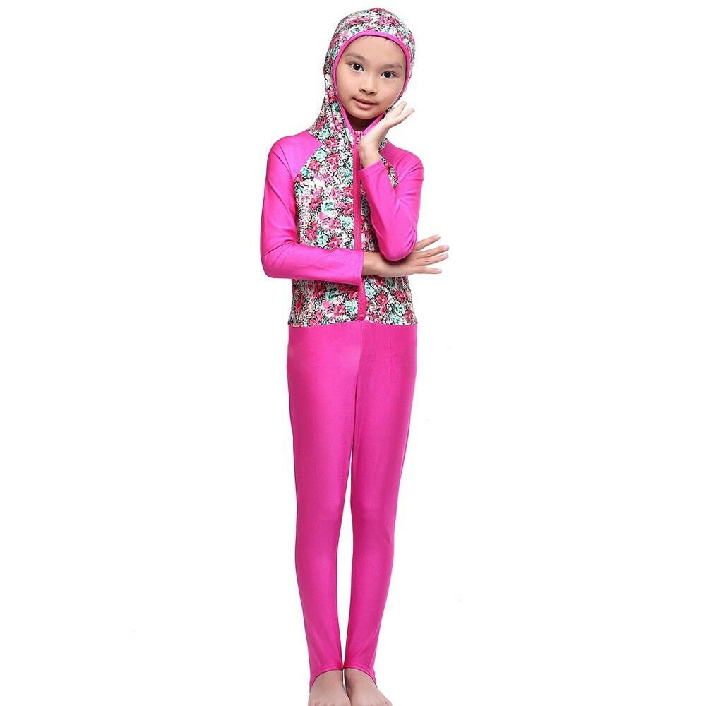 Musilim Swimwear Swimsuit Burqini hw20f Child  rose red