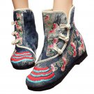 Vintage Beijing Cloth Shoes Embroidered Boots grey 35