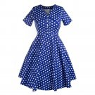 V Neck Short Sleeve Slim Dot Big Peplum Dress   blue