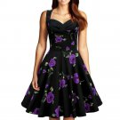 Hepburn Style Vintage Big Peplum Printing Dress  purple