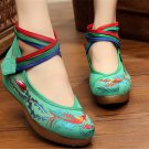 Chinese Embroidered Shoes Women Ballerina  Cotton Elevator shoes Phoenix