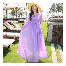 Boat Neck Off-shoulder Ballon Sleeve Beach Long Dress   violet  S