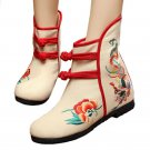 Vintage Beijing Cloth Shoes Embroidered Boots 12-01   beige with cotton  35
